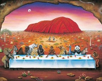 Lithograph Print, Aboriginal life, art print, fine art, Indigenous art, Australian painting, original paintings, archival paper, acid free