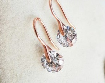 Earrings-Drop Earrings -solid silver- dangle earrings-rose gold-minimalist-zircon