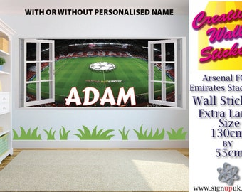 Large wall stickers etsy for Emirates stadium mural