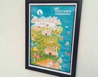 GAME OF THRONES Map of Westeros Wall Art Framed Print - Game of Thrones Seven Kingdoms Map Westeros Map of the 7 Kingdoms GoT Art Gifts