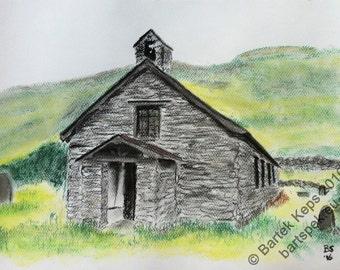 Original pastel sketch, drawing, pastel painting, old english church, pastel drawing, ruins drawing, church ruins painting, medieval church