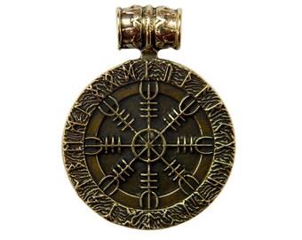 """Colgante """"Aegishjalmur"""" (2) timón de asombro nórdico nórdicos vikingos paganos colgante casco de colgante de bronce Aegishjalmur terror escandinavo"""