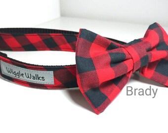 BRADY - Buffalo Checker Bowtie Collar - Red Buffalo Checker Dog Collar - Fall and Winter Dog Collar - lumberjack BowTie Collar- Wiggle Walks