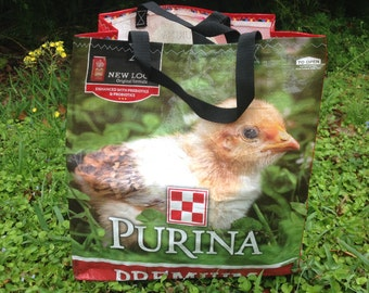 Upcycled Purina Premium Poultry Feed Bag Tote