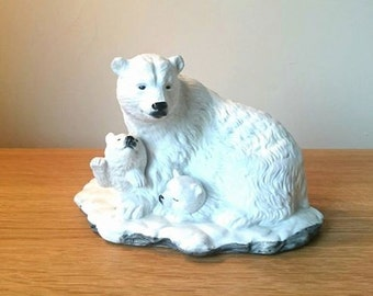 Vintage Polar Bear Figurine Arctic White Polar Ceramic Bear Family Baby Bear Christmas Figurine Collectable Figurine