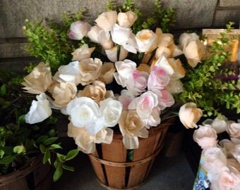 Bulk Paper Flowers (120) / Coffee Filter Flowers / Paper Roses with Stems