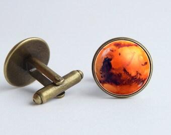 Space cufflinks Mars cuff links Cosmos jewelry Planet cuff links Astronomy cufflinks Galaxy gift Universe jewelry Galaxy jewelry Red planet