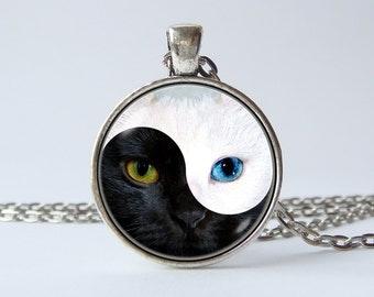 Yin Yang cat necklace Yin Yang pendant Black and white Yin Yang jewelry Cat jewelry Birthday gift Cat eyes Art pendant Art necklace Pet gift