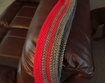 Grey and Red Infinity Scarf