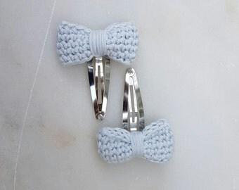 Blue Bow Hairclips