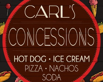 Custom Concession Stand Sign Digital Download