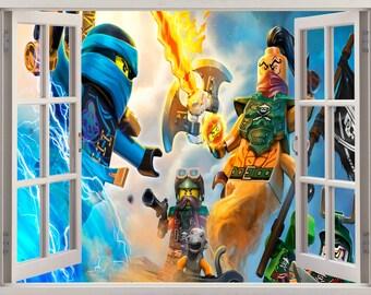 3D Window Lego Ninjago Wall Decal