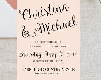 Printable Wedding Invitation, Wedding Invitation Template, DIY Wedding Invitation, DIY Invitation, Wedding Invite, Blue Wedding Invite