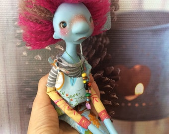 OOAK art doll, Moppiedoll, clay doll, decorative doll