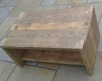 Coffee table, custom made to order from reclaimed scaffold boards