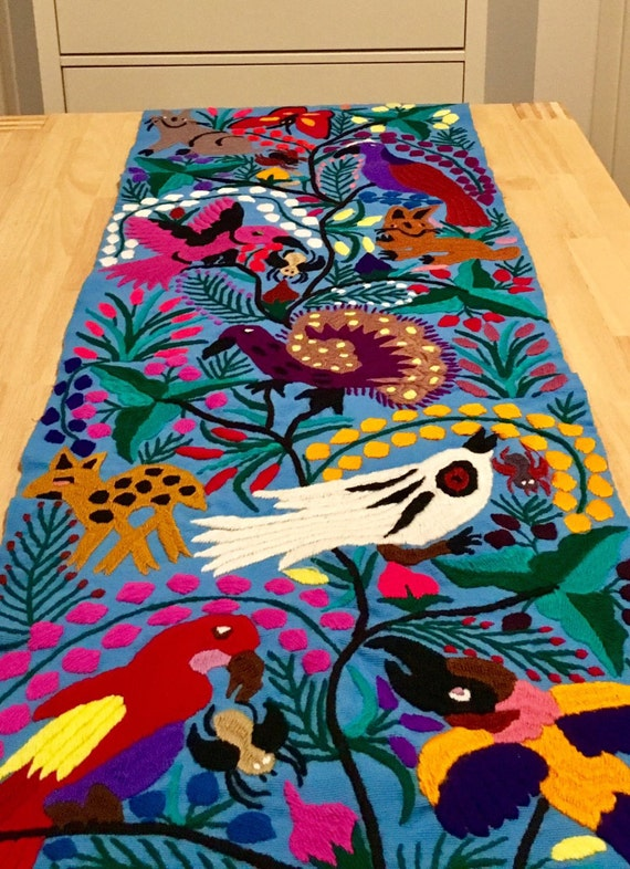 Mexican Hand Embroidered Table Runner blue birds