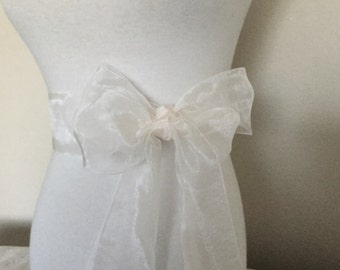 White organza  sash. 2.5 inch or 2.75 inch wide.  White Nylon organza sash. White Bridal sash. Simple sash. Bridesmaid sash