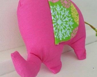 Dark Pink Elephant with Green Floral Burst Crinkle Ears