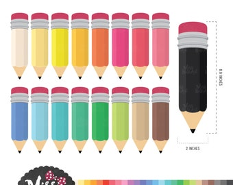 30 Colors Pencil/ Stationary Clipart - Instant Download