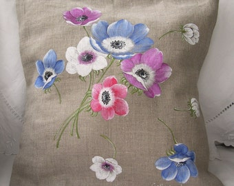 Hand painted linen pillow cover