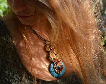 """Macrame Bohemian style Necklace with turkiz stone , """"Joy"""""""