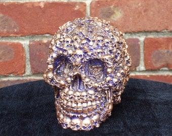 Hand Painted Skulls on Skull Blue and Bronze Skull