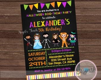 Halloween Party Invitation, Halloween Birthday Invitation Chalk, Halloween Costume Party Invitation, Halloween Invitation, Digital File