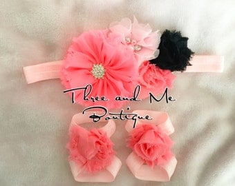 PRETTY IN PINK; Baby Ribbon Sandals+Matching Headband;Baby Accessories
