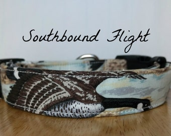 "Black White and Brown Realistic Goose Hunting Dog Collar ""Southbound Flight"""