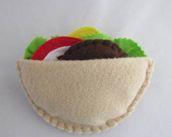 Felt Pita Pocket - pita, tomato, lettuce, cheese, falafal - play with your food