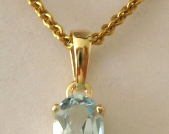 Genuine SOLID 9K 9ct YELLOW GOLD March Birthstone Aquamarine Pendant