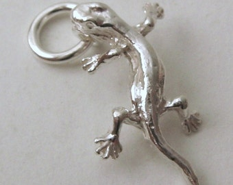 Genuine SOLID 925 STERLING SILVER 3D Lizard Reptile charm/pendant