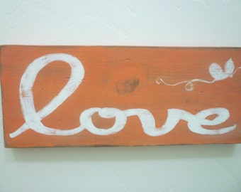 Love with Butterfly, Distressed Wood Wall Hanging, Farmhouse, Shabby Chic, French Country, Rustic, Cottage Chic