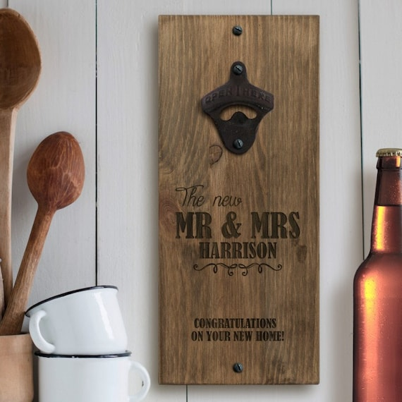 engraved mr and mrs personalised wall bottle opener by blueponyco. Black Bedroom Furniture Sets. Home Design Ideas