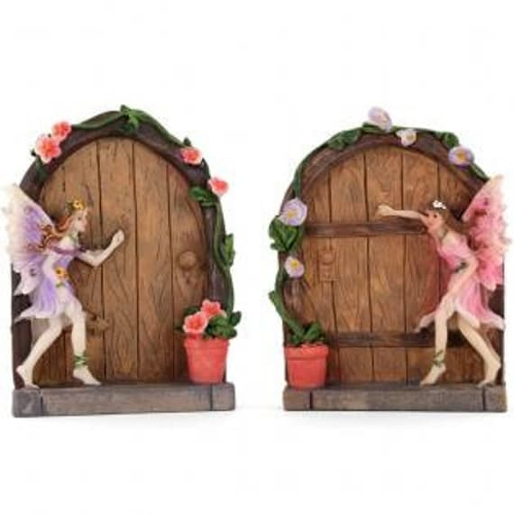 Beautiful hand painted box of 2 fairy doors by blueponyco for Painted fairy doors