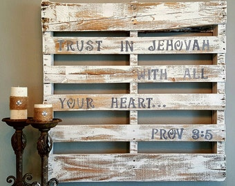 Rustic Old World Pallet Sign Custom Quote Scripture Wood Art