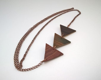 Trio of wood necklace