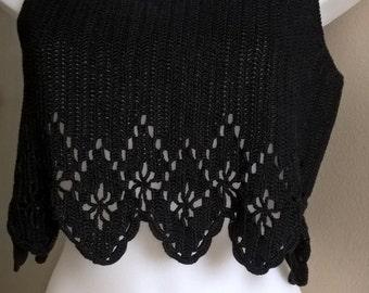 Top crochet black, Bohemian