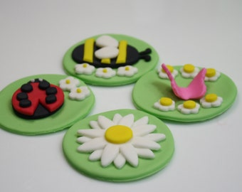 Spring is here! 12 fondant cupcake toppers