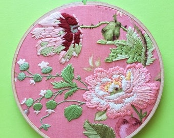 Pink Flower Floral Hand Embroidery on Wooden Hoop Homewares retro vintage style