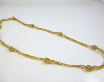 Double Strand Necklace, Gold Plated Necklace,  Knotted Chain, Double Chain, Vintage Necklace