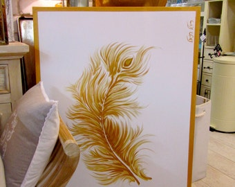 """Original acrylic painting, 50""""X 35"""", Gold Feather, Metallic, Wall art, OOAK, Unique hand painted, Gift, Home decor, For office, home, Signed"""