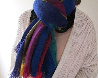 Woven scarf wrap rainbow multicolored fringed winter vintage.