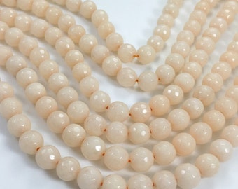 1Full Strand Peach Jade Faceted Round Beads,8mm 10mm Wholesale Gemstone For Jewelry Making