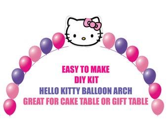 Hello Kitty Birthday Balloons, Hello Kitty Arch Balloon Party Decor Cake Table Gift Table, DIY KIT Party Supplies Balloons