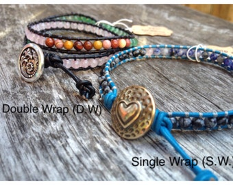 Customizable Beaded Leather Wrap Bracelet - Adjustable, Hand Beaded SNGL OR DBL Leather Wrap Bracelets - Create Your Own Harmony