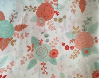 Mint, Coral, Gold Curtains, Floral Curtains, Rose Curtains, Gold and Mint, Custom Curtains, Handmade Curtains, Free Shipping, Custom Drapes