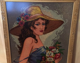 Young Lady beaded Needlepoint