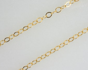 14K Gold Filled 2.3mm Round Flat Cable Chain, Made in America