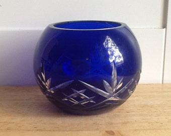 Vintage Cobalt Blue Crystal Sphere